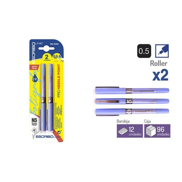 Blister 2 Rollers Azules Punta Aguja 0,5 mm