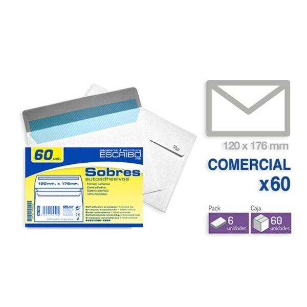Pack 60 Sobres - 120 x 176 mm. (Comercial)