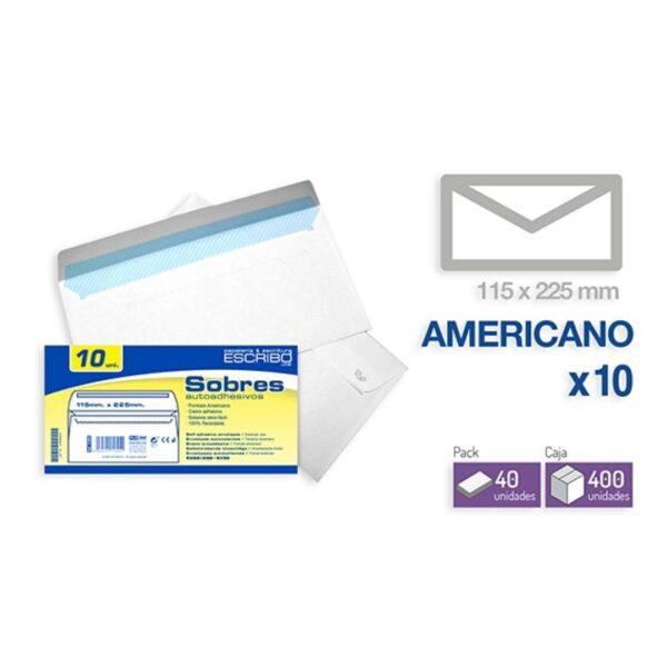 Pack 10 Sobres - 115 x 225 mm. (Americano)