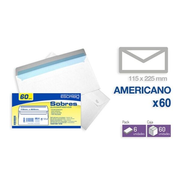 Pack 60 Sobres - 115 x 225 mm. (Americano)