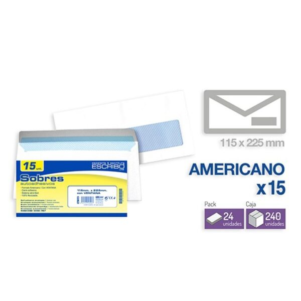 Pack 15 Sobres Ventana - 115 x 225 mm. (Americano)
