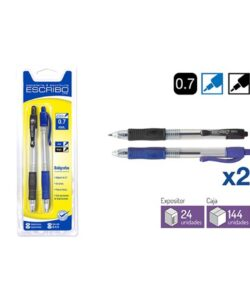 Blister 2 Boligrafos EASY - Azul y negro 0,7 mm.